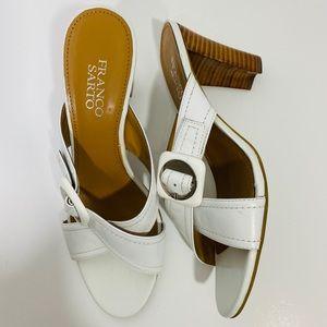 Franco Sarto White Slip-On Leather Sandals EUC